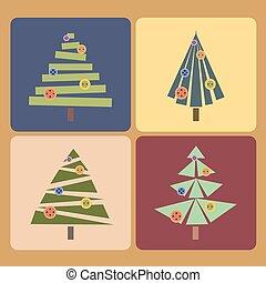 Set of four Christmas trees