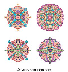 Set of four circle abstract ornament.