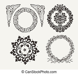 Set Of Four Circle Frames And Vintage Design Elements