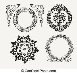 Set Of Four Circle Frames And Vintage Design Elements