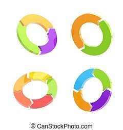 Set of four circled arrow signs