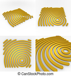 Set Of Four Circural Company Logo 3D Templates