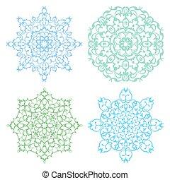 Set of four cold color lacy mandala