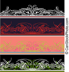 Set Of Four Color Border Design Elements