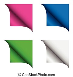 Set of four color curled corner, vector illustration