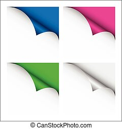 Set of four color curled corners of white sheets, vector illustration