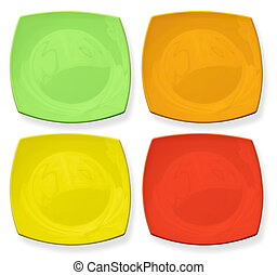 Set of four color square plates isolated on white