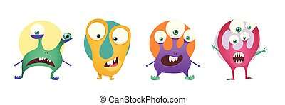 Set of four color stickers with cute monsters. Cartoon illustration vector.