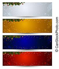 Christmas banners - set of four color various Christmas...