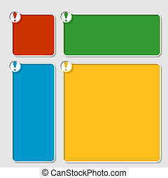 set of four colored box for any text with exclamation mark
