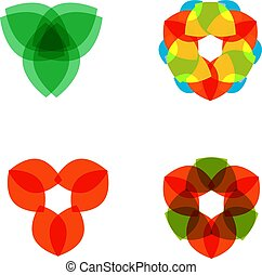 Set of four colored circular patterned elements. Vector illustration on isolated background