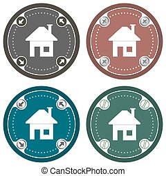 Set of four colored flat icons and home symbol