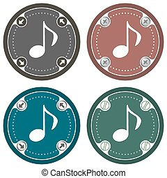 Set of four colored flat icons and music symbol