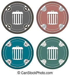 Set of four colored flat icons and trashcan