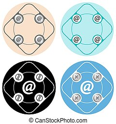 Set of four colored flat simple frames and email symbol