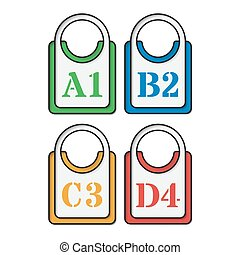 set of four colored tags