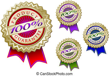 Set of Four Colorful 100% Product Guarantee Emblem Seals...