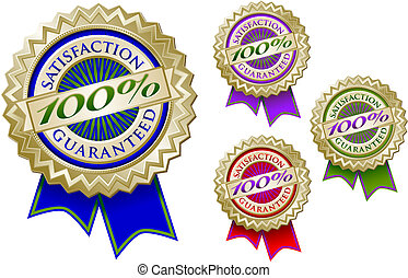 Set of Four Colorful 100% Satisfaction Guarantee Emblem Seals With Ribbons.