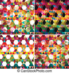 Set of four colorful abstract geometric background.