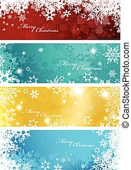 Set of four colorful Christmas background banners with snowflakes and simple Merry Christmas text - horizontal version