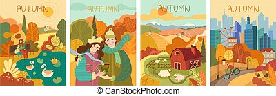 Set of four colorful depictions of autumn life