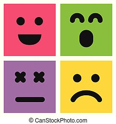 Set of four colorful emoticons with emoji faces