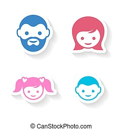set-of-four-colorful-family-member-face-labels