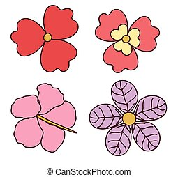 Set of Four Colorful Flowers
