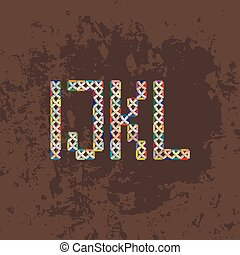 Set of four colorful knitted, embroidered or macrame capital letters of the Latin alphabet. I, J, K and L.