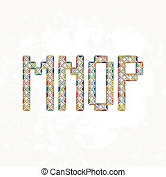 Set of four colorful knitted, embroidered or macrame capital letters of the Latin alphabet. M, N, O and P.