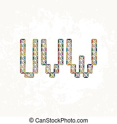Set of four colorful knitted, embroidered or macrame capital letters of the Latin alphabet. U, V and W.