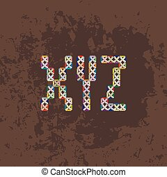 Set of four colorful knitted, embroidered or macrame capital letters of the Latin alphabet. X, Y and Z.