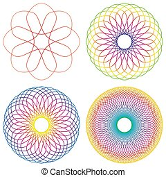 Set of four colorful line spirograph abstract elements