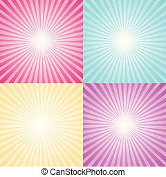 Set of four colorful ray backgrounds.