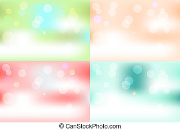 Set of four, colorful - red, blue, orange green abstract background with lights