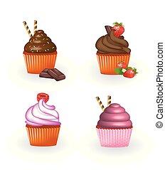 Set of four cupcakes
