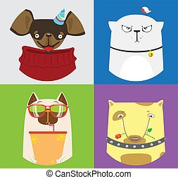 Set of four cute cats and dogs. Vector collection of domestic animals.