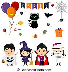 Set of four cute kids in costumes for Halloween, elements, objects and icons for your design in cartoon style, isolated on white background. Vector, flat style