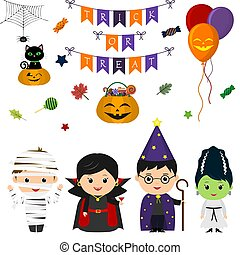 Set of four cute kids in costumes for Halloween, elements,...