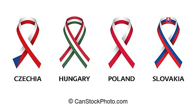 Set of four Czech, Hungarian, Polish and Slovak stripe ribbons. Pray for Czech Republic, Hungary, Poland and Slovakia. Independence day. Simple icons with flags isolated on a white background