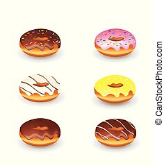 Set of four decorated donuts