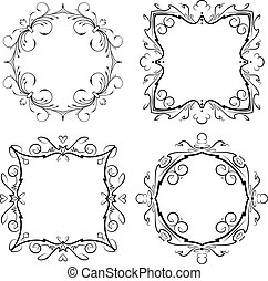 Set of four decorative round and squre vintage vector frames.