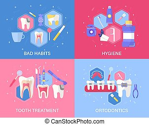 Set of four dental banners or posters
