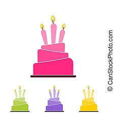 Set of four different colored cake icons with three lit candles isolated on white background
