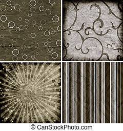 set of four different retro pattern scrapbook backgrounds