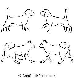 Set of four dog outlines