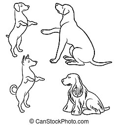 Set of four dogs