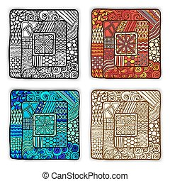 Set of four doodle ethnic cards in vector.