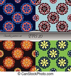 Set of four elegant seamless patterns with floral and Mandala el