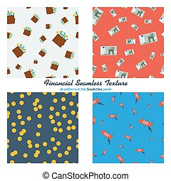 Set of four financial seamless patterns